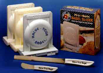 Halve Your Bagel Safety Bagel Slicer. The bagel slicer that professionals use is now available for your home.
